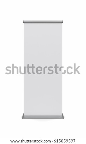 Mock up of realistic roller banner isolated on white background. 3d illustration