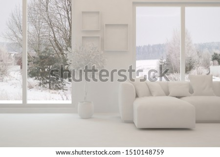 Mock up of stylish room in white color with sofa and winter landscape in window. Scandinavian interior design. 3D illustration