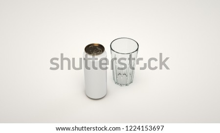 Mock up of tall white beer can 0.5l and an empty glass on white background. Design or branding template. 3D rendering illustration