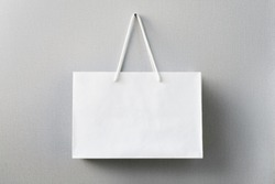 Mock up of white paper bag, blank craft package