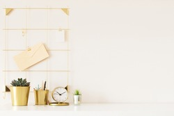 Mock up of woman workplace on light background. Business office desk with gold colors. Modern design. Minimal style.