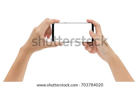 mock-up phone in hand holding isolated on white background clipping path inside #703784020