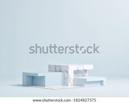 Mock up podium for product presentation, blue background design, 3d render, 3d illustration