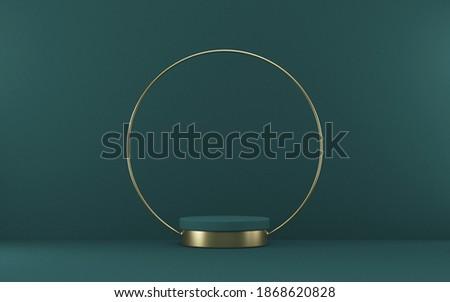 Mock up podium for product presentation golden circle 3D render illustration on green background