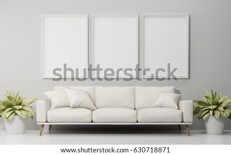 Mock up poster and white sofa in living room, illustration 3d rendering