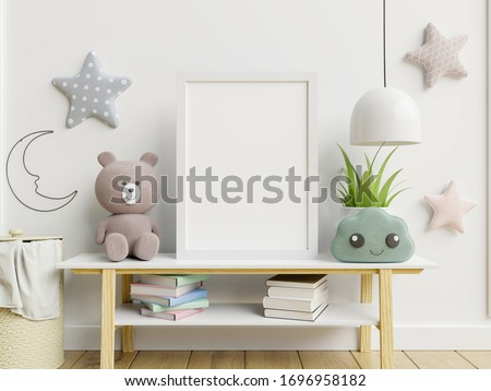 Mock up poster frame in children room,kids room,nursery mockup,3d rendering