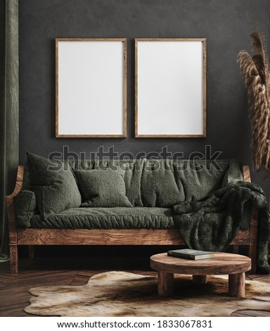 Mock up poster frame in dark green living room interior, ethnic style, 3d render Foto stock ©