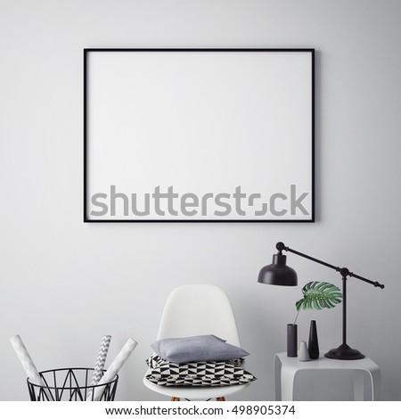 mock up poster frame in hipster interior background, 3D render, 3D illustration