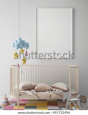 mock up poster frame in hipster room, scandinavian style interior background, 3D render, 3D illustration