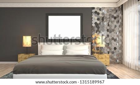 mock up poster frame in interior background. 3D Illustration #1315189967