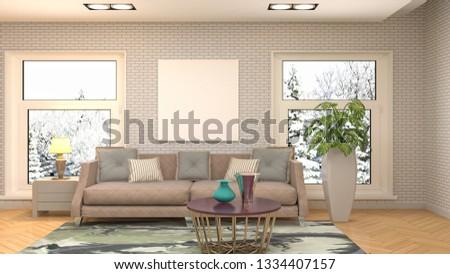 mock up poster frame in interior background. 3D Illustration #1334407157