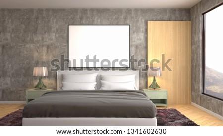 mock up poster frame in interior background. 3D Illustration #1341602630