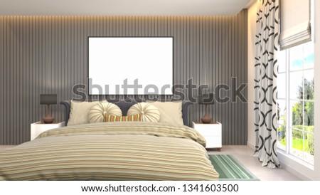 mock up poster frame in interior background. 3D Illustration #1341603500