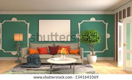 mock up poster frame in interior background. 3D Illustration #1341641069