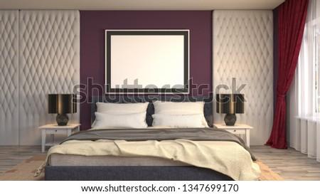 mock up poster frame in interior background. 3D Illustration #1347699170