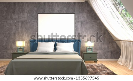 mock up poster frame in interior background. 3D Illustration #1355697545