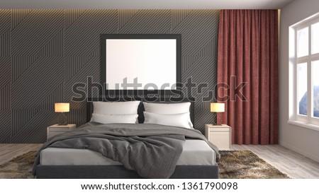 mock up poster frame in interior background. 3D Illustration #1361790098