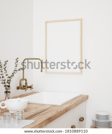 Mock up poster frame in kitchen interior, Farmhouse style, 3d render Foto stock ©