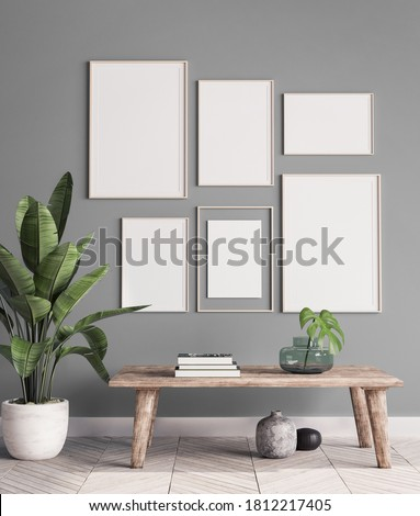 mock up poster frame in modern interior background, gallery wall in gray living room, Scandinavian Boho style, 3d illustration Stock photo ©