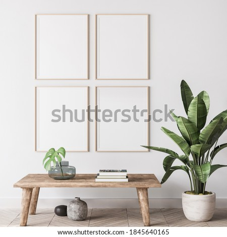 mock up poster frame in modern interior background, gallery wall in gray living room, Scandinavian Boho style, 3d render, 3d illustration