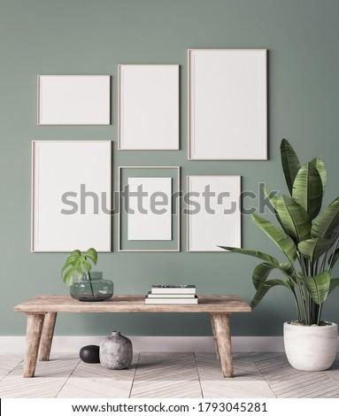 mock up poster frame in modern interior background, gallery wall in green living room, Scandinavian Boho style, 3d render, 3d illustration Stock photo ©