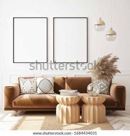 mock up poster frame in modern interior background, living room, Scandinavian style, 3D render, 3D illustration Stock photo ©