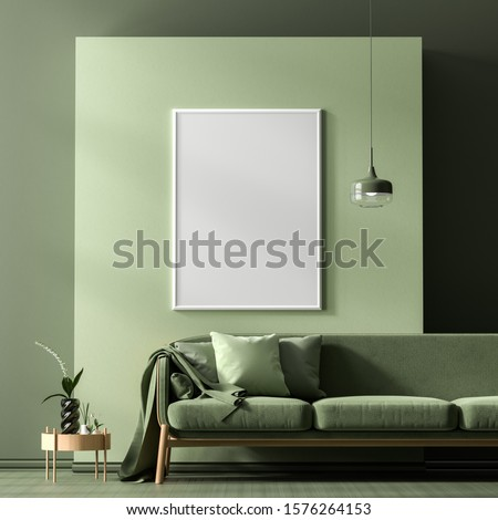 Mock up poster frame in Scandinavian style interior with modern furnitures. Minimalist interior design. 3D illustration.