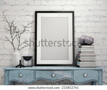 mock up poster frame with on vintage chest of drawers, hipster interior background, 3D render