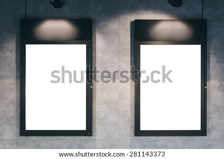 Mock up poster frame with spotlight on wall  #281143373