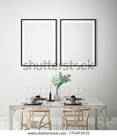 mock up poster frames in dinning room interior background, Scandinavian style, 3D render, 3D illustration