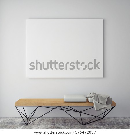 mock up poster frames in hipster interior background, 3D render