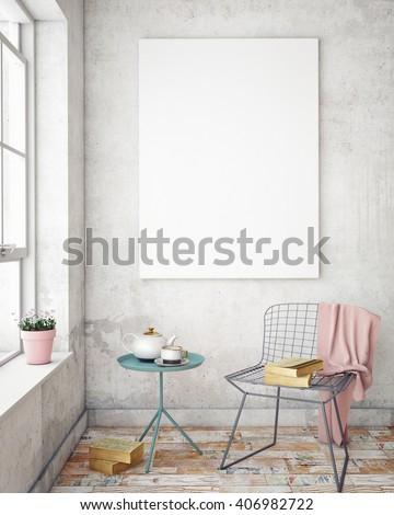 mock up poster frames in hipster interior background, 3D render
