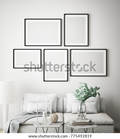mock up poster frames in hipster interior background, Scandinavian style, 3D render, 3D illustration