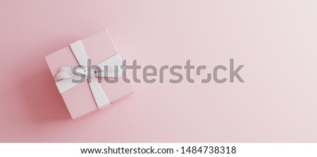 Mock-up poster, gentle millennial pink colored gift box with white bow on light pink background, 3D Render, 3D Illustration
