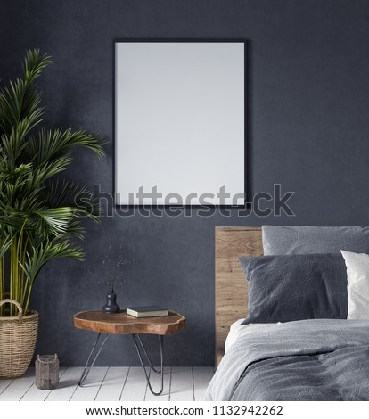 Mock up poster in bedroom interior,ethnic style, 3d render