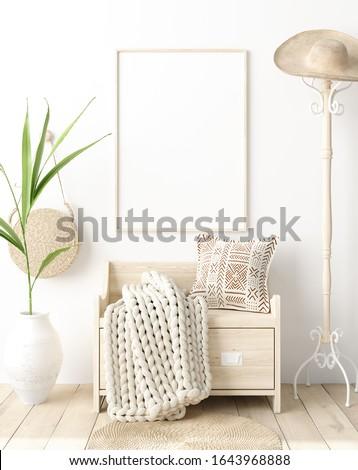 Mock up poster in hallway interior, Scandinavian style, 3d render
