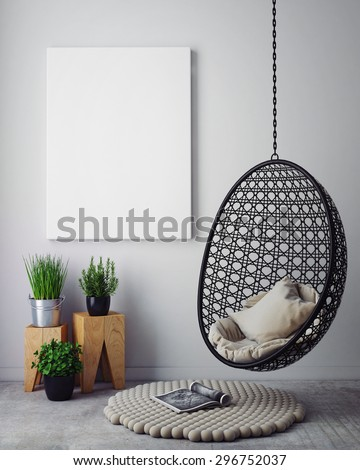 mock up poster in hipster interior background, 3D render