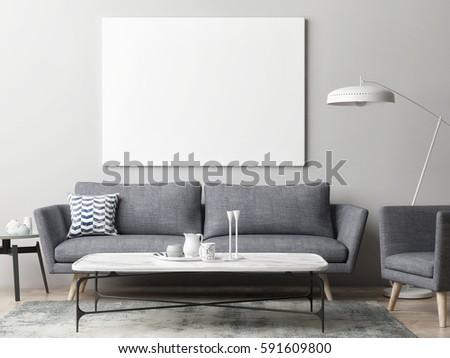 Mock up poster in hipster living room background, 3d illustration