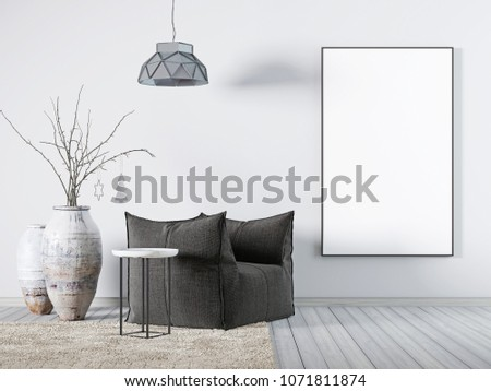 Mock up poster in living room interior white fabric armchair, a coffee table and big vase. 3d rendering