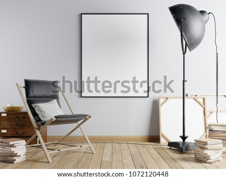 Mock up poster in the urban interior with an armchair and a black big lamp and books, 3d render, 3d illustration. #1072120448