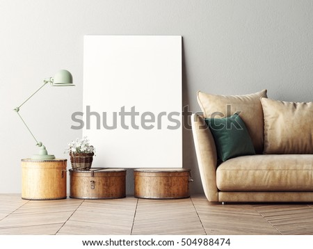 Mock up poster, interior composition, sofa, lamp and white poster, 3d rendering