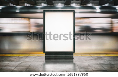 Mock up Poster media template Ads display in NYC Train Subway Station with moving Train on background. Realistic 3d render illustration