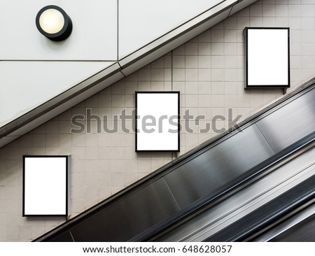 Mock up Poster media template Ads display in Subway station escalator