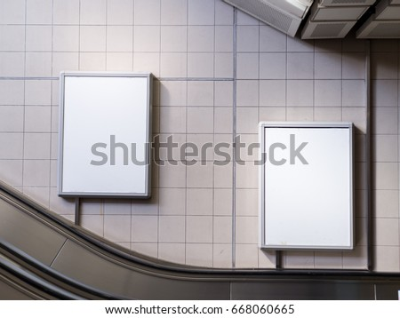 Mock up Poster media template Ads display in Subway station escalator #668060665