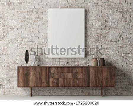 Mock up poster on brick wall, Scandinavian Living room design, poster on background, 3d render, 3d illustration