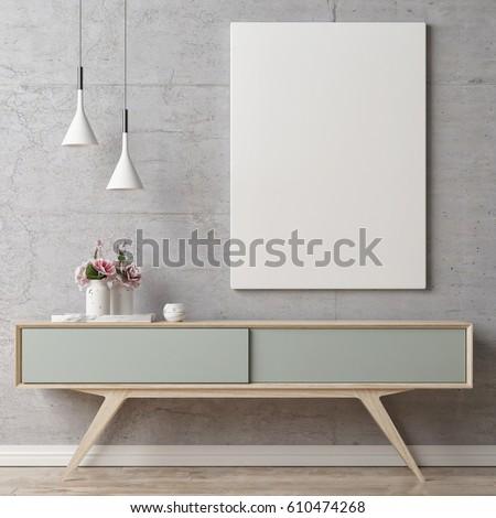 Mock up poster on table in room - 3D render, 3D illustration