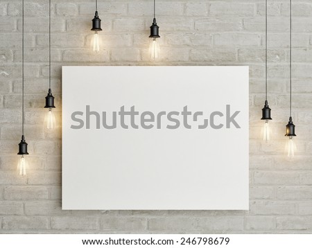 Mock up poster with ceiling lamps, 3d illustraton ストックフォト ©
