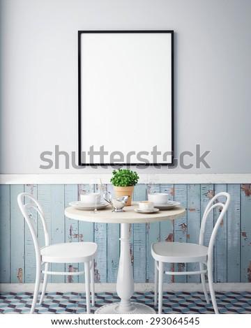 mock up poster with vintage hipster cafe restaurant interior background, 3D render