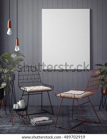 Mock up poster with vintage hipster minimalism loft interior background, 3D rendering, 3D illustration