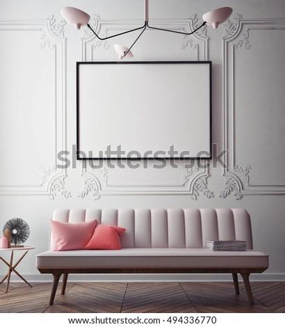 mock up poster with vintage pastel hipster minimalism loft interior background, 3D rendering, 3D illustration